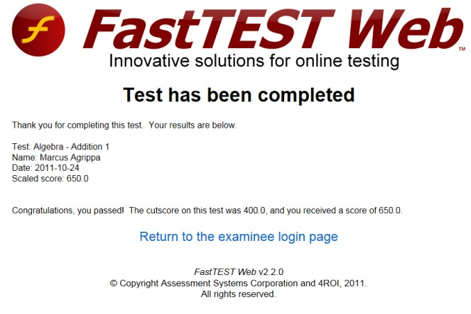 test results screen