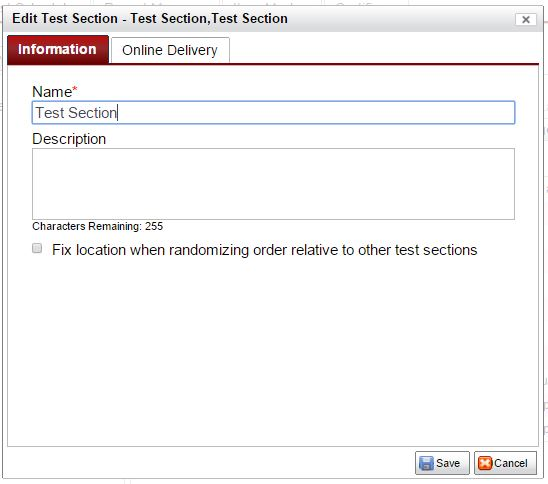 test section info tab